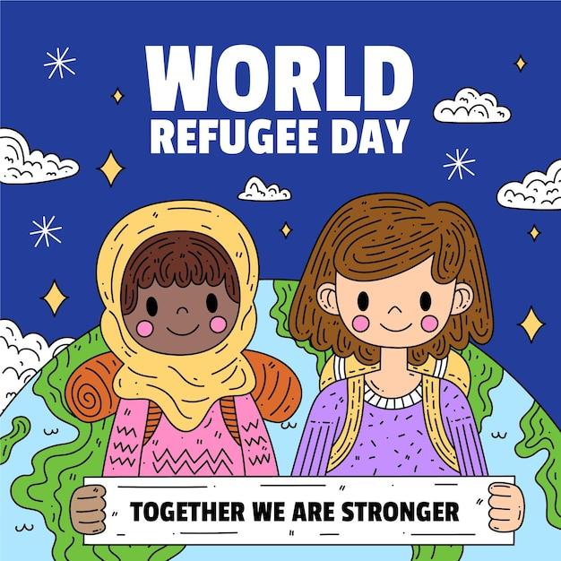 Światowy Dzień Uchodźcy Z Dziećmi I Planetą Darmowych Wektorów
