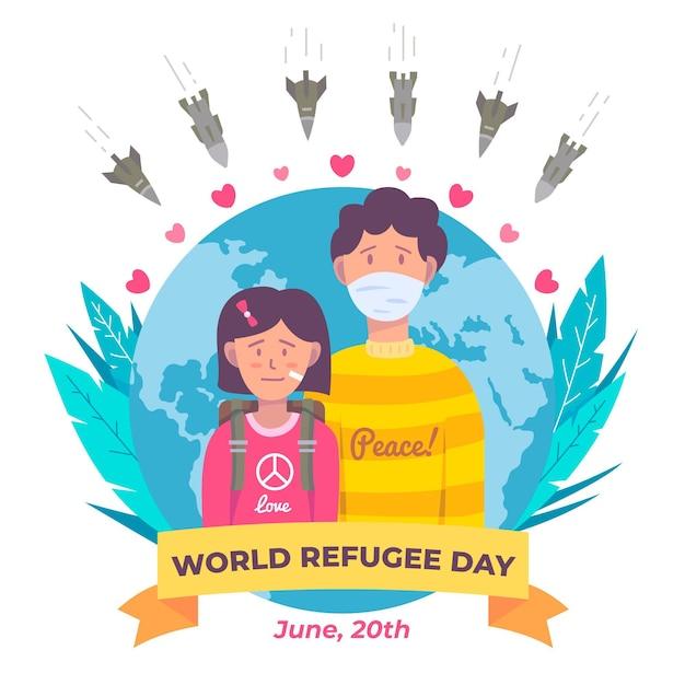 Światowy Dzień Uchodźcy Z Ludźmi I Planetą Darmowych Wektorów