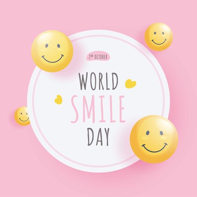 Światowy Dzień Uśmiechu Z Błyszczącymi Twarzami Emotikonów Na Białym I Różowym Tle. Premium Wektorów