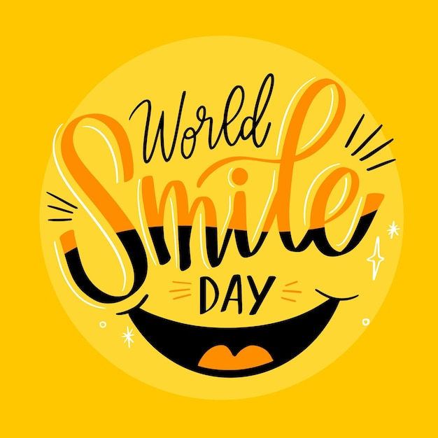 Światowy Dzień Uśmiechu Z Ustami Darmowych Wektorów