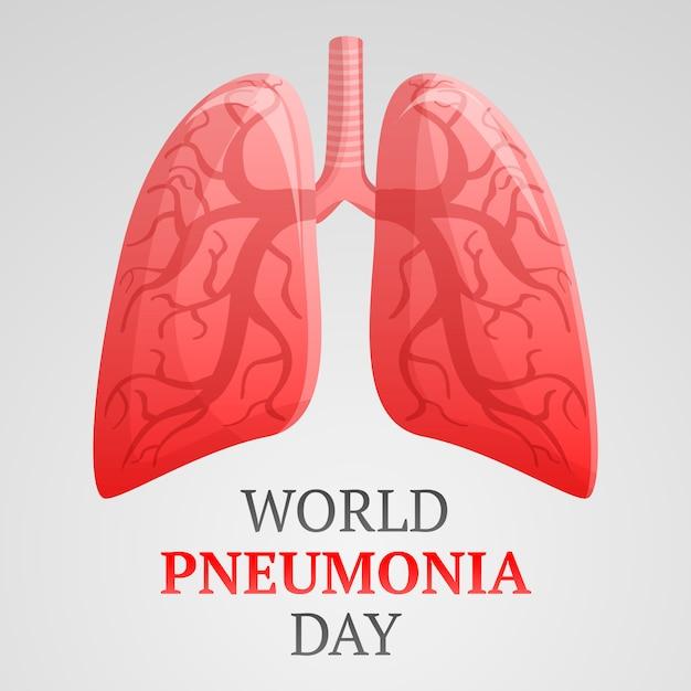 Światowy Dzień Zapalenia Płuc Tło, Kreskówka Styl Premium Wektorów