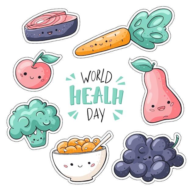 Światowy Dzień Zdrowia Naklejki Opakowanie Na Białym Tle Premium Wektorów