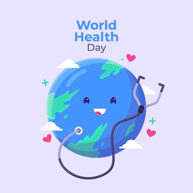 Światowy Dzień Zdrowia W Płaskiej Konstrukcji Darmowych Wektorów