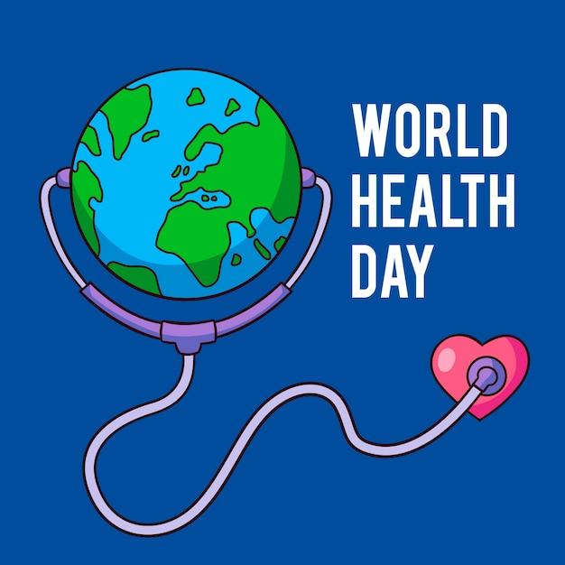 Światowy Dzień Zdrowia Z Planetą I Stetoskopem Darmowych Wektorów