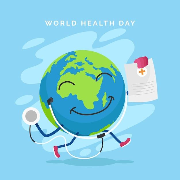 Światowy Dzień Zdrowia Z Planety Ziemia I Stetoskop Darmowych Wektorów
