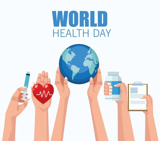 Światowy Dzień Zdrowia Z Rękami Podnoszącymi Ikony Medyczne Wektor Ilustracja Projekt Premium Wektorów
