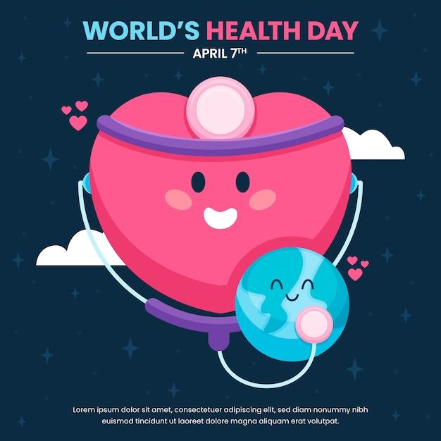 Światowy Dzień Zdrowia Z Sercem I Planetą Darmowych Wektorów