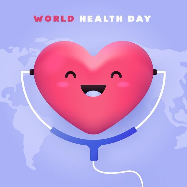 Światowy Dzień Zdrowia Z Sercem Darmowych Wektorów