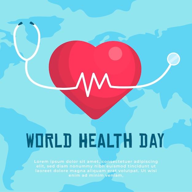 Światowy Dzień Zdrowia Z Tłem Serca Darmowych Wektorów