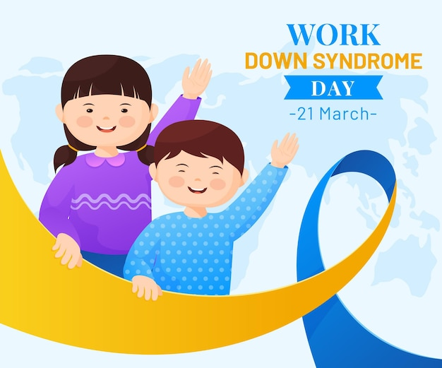 Światowy Dzień Zespołu Downa Ilustracja Z Machającymi Małymi Dziewczynkami Darmowych Wektorów