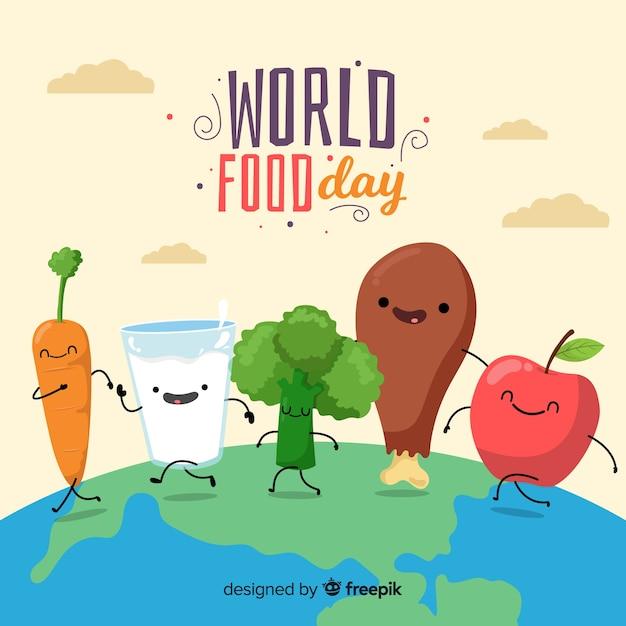 Światowy dzień żywności koncepcja z płaskim tle Darmowych Wektorów