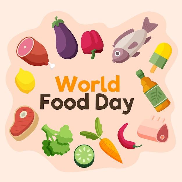 Światowy Dzień żywności Mięsa I Warzyw Darmowych Wektorów