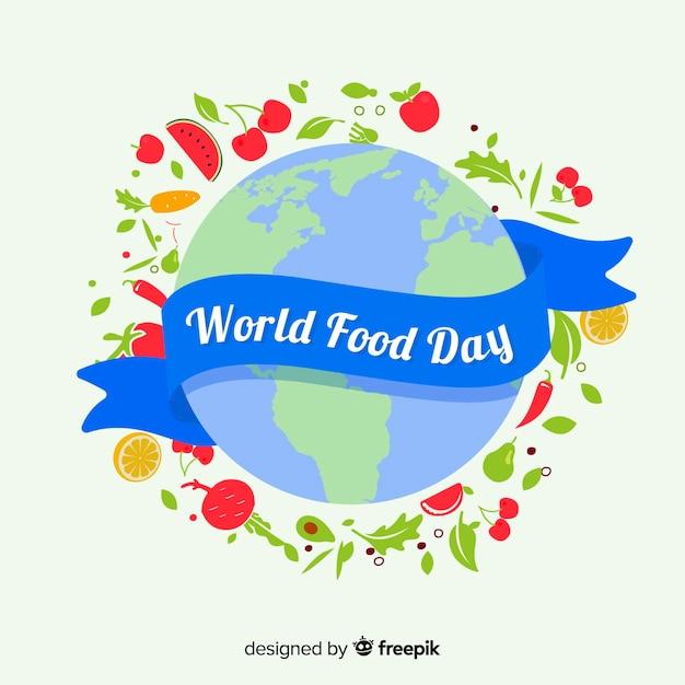 Światowy dzień żywności wstążką Darmowych Wektorów