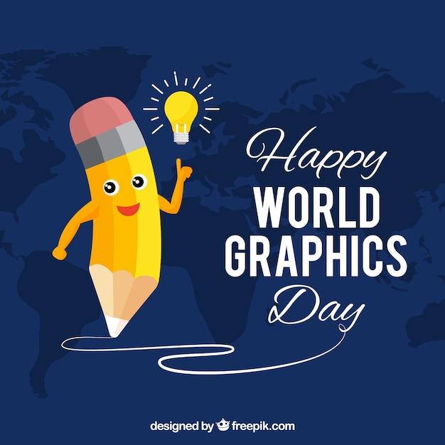 Światowy grafika dnia tło z ślicznym ołówkiem Darmowych Wektorów