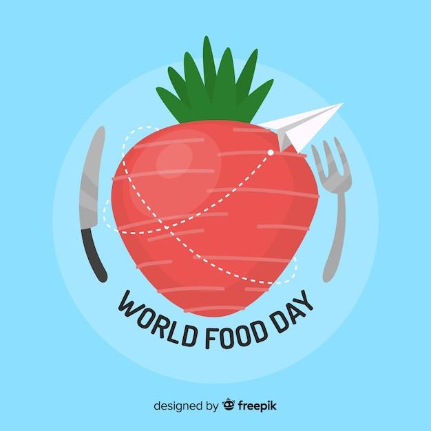 Światowy karmowego dnia tło z jabłkiem Darmowych Wektorów