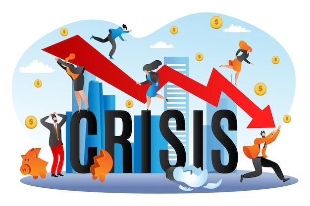 Światowy Kryzys Finansowy, Ilustracja Upadku Gospodarczego. Spadający Wykres Finansów, Bankructwa Biznesu. Koncepcja Niepowodzenia Finansów, Zasoby Finansowane Przez Gospodarkę. Ryzyko Inwestycyjne, Upadek, Depresja. Premium Wektorów