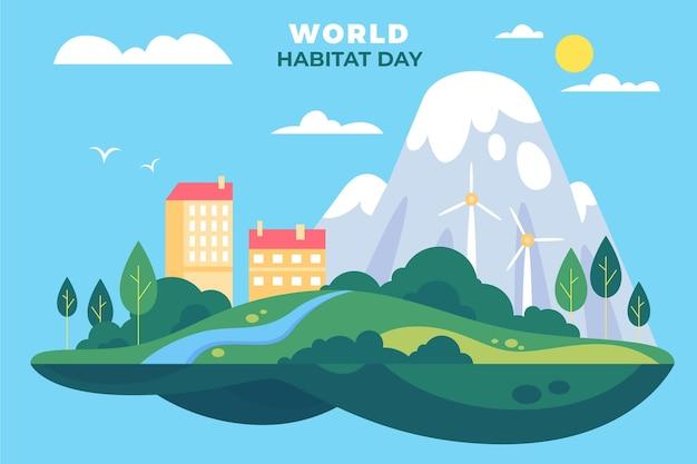 Światowy Motyw Dnia Siedlisk Darmowych Wektorów