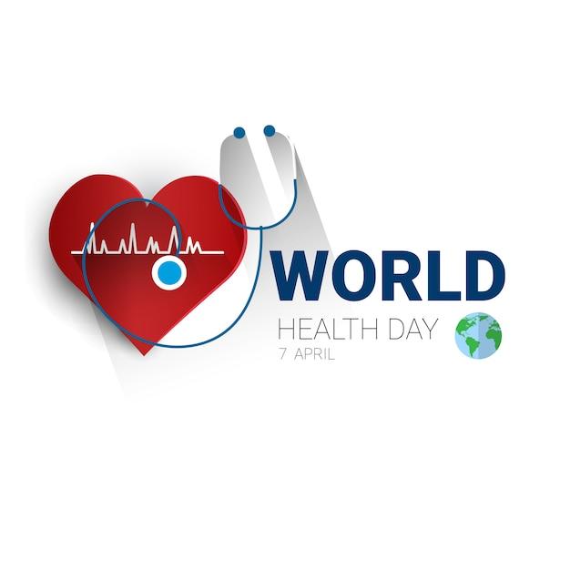Światowy planeta zdrowia światowy dzień globalny wakacje transparent z miejsca kopiowania Premium Wektorów
