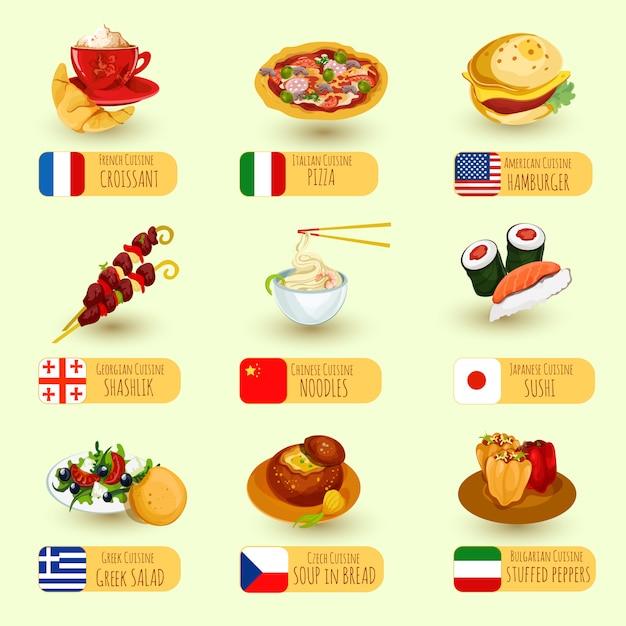 Światowy Zestaw Do Jedzenia Darmowych Wektorów