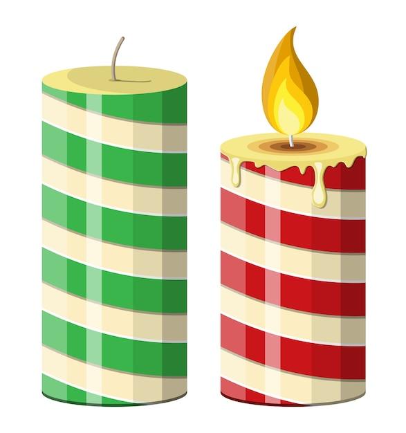 Świeca Bożonarodzeniowa W Paski. Okrągła, Cylindryczna świeca Z Płonącymi Płomieniami. Dekoracja Szczęśliwego Nowego Roku. Wesołych świąt Bożego Narodzenia. Nowy Rok I święta Bożego Narodzenia. Premium Wektorów