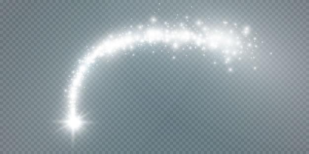 Świecąca Kometa, Magiczna Linia, Efekt świetlny Na Białym Przezroczystym Tle. Premium Wektorów