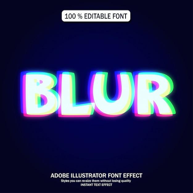 Świecące czerwony zielony niebieski efekt tekstowy Premium Wektorów