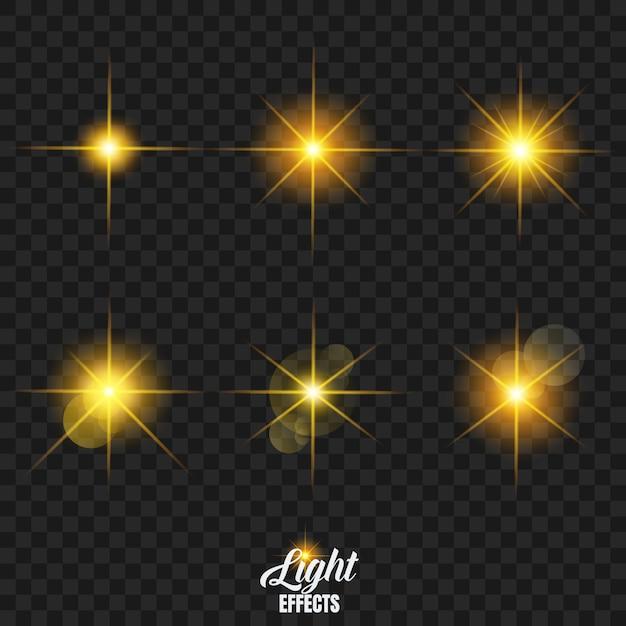 Świecące gwiazdy z ustawionym efektem podświetlenia Premium Wektorów