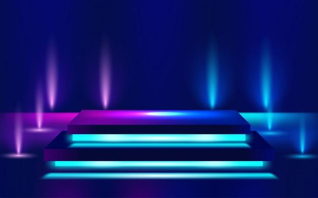Świecące Linie Neonowe, Koncepcja światła Magicznej Energii Miejsca. Ilustracja Premium Wektorów