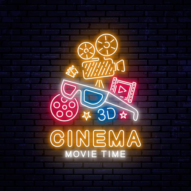 Świecące neon kino znak Premium Wektorów