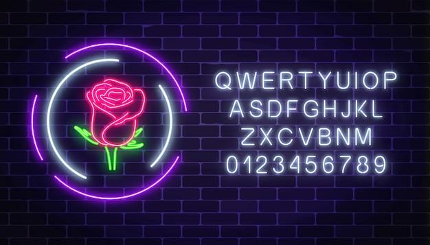 Świecące Róża Neon Znak Kwiaciarni Premium Wektorów