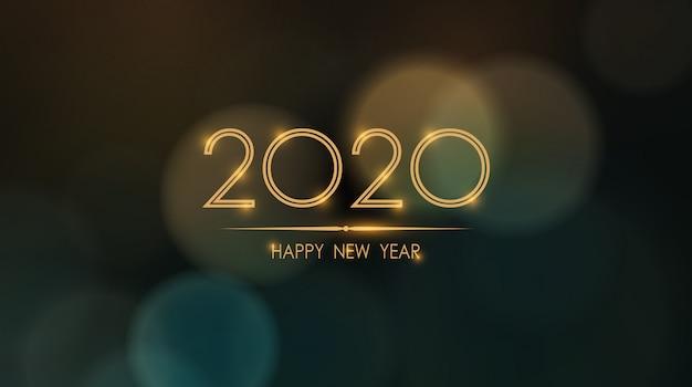 Świecące szczęśliwego nowego roku 2020 z streszczenie tło bokeh i flary obiektywu Premium Wektorów