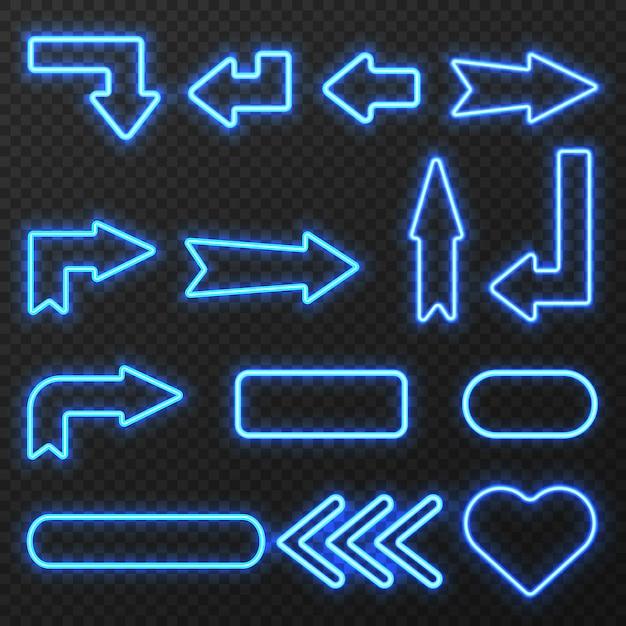 Świecące w nocy neon światła przedstawił znaki strzałki i symbole na czarnym tle na białym tle ilustracji wektorowych Premium Wektorów