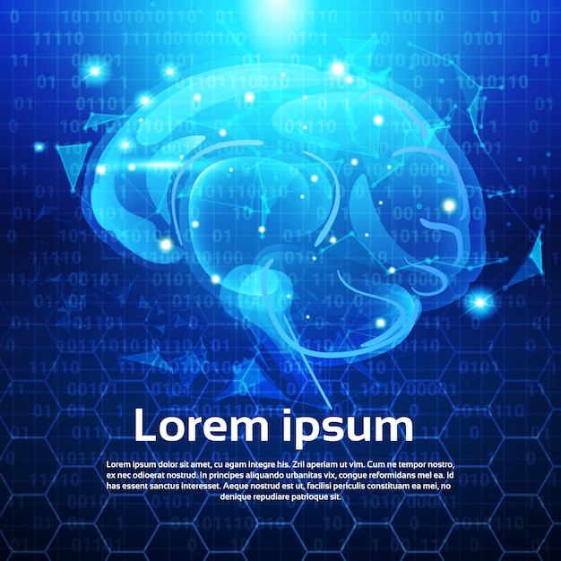 Świecące wielokątne ludzkiego mózgu nad streszczenie low poly niebieskie tło z miejsca kopiowania Premium Wektorów