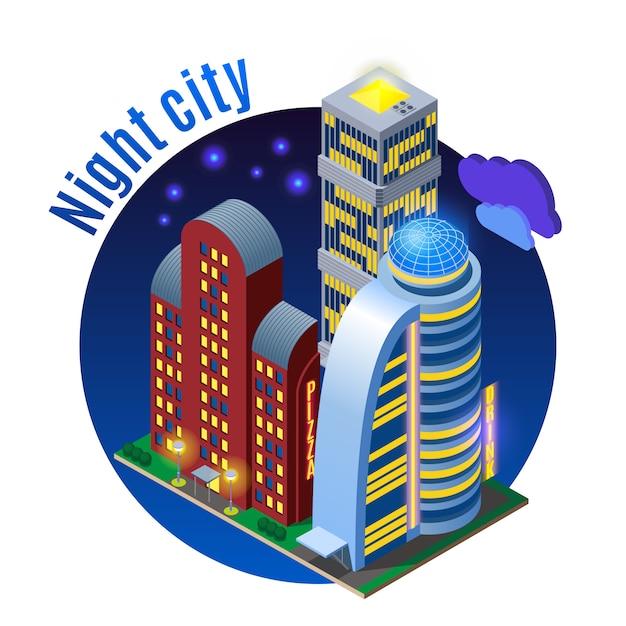 Świecące Wieżowce Z Nowoczesną Architekturą W Nocy Darmowych Wektorów
