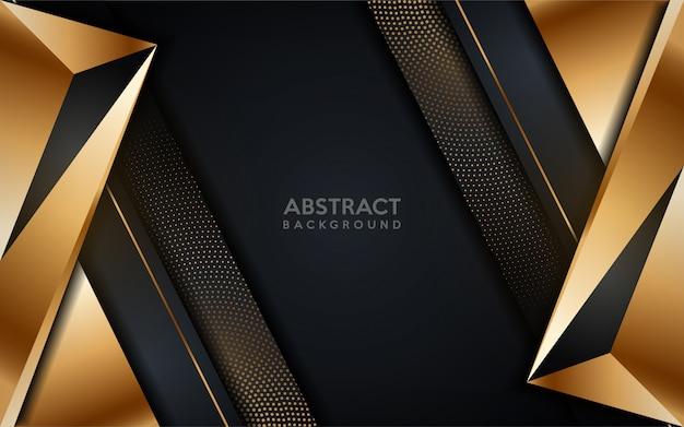Świecące złote nowoczesne ciemne tło z elementem złote kropki. Premium Wektorów