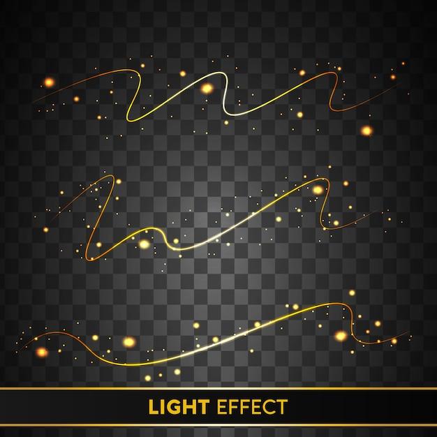Świecące Złoty Efekt świetlny Z Musujących Cząstek Na Przezroczystym Tle Premium Wektorów