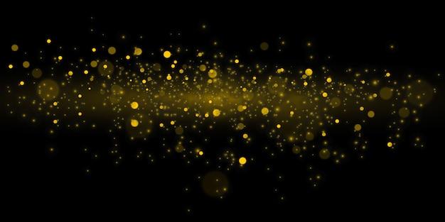 Świecące żółte Koła Bokeh, Musujące Złote Pyłki Abstrakcyjna Złota Luksusowa Dekoracja Tła Premium Wektorów