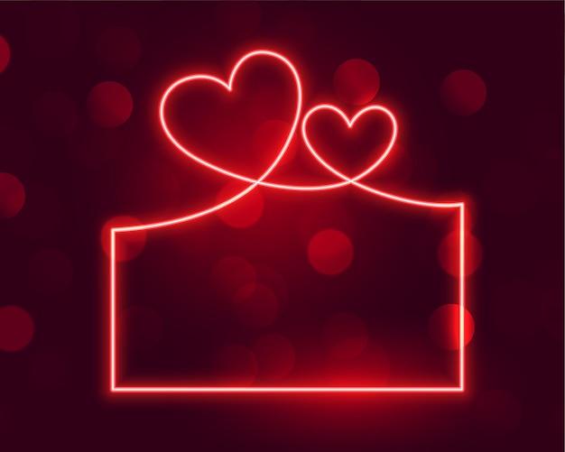 Świecący Neonowy Transparent Ramki Na Walentynki Darmowych Wektorów