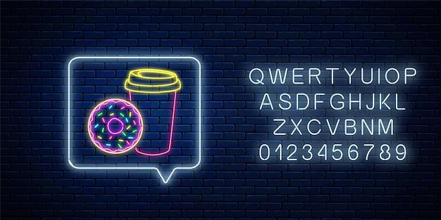 Świecący Neonowy Znak Pączka I Filiżanki Kawy W Ramce Powiadomienia Z Alfabetem. Symbol żywności. Premium Wektorów