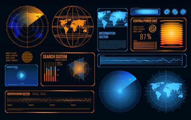 Świecący zestaw radarów wyszukiwania kontroli pobierania systemu Darmowych Wektorów