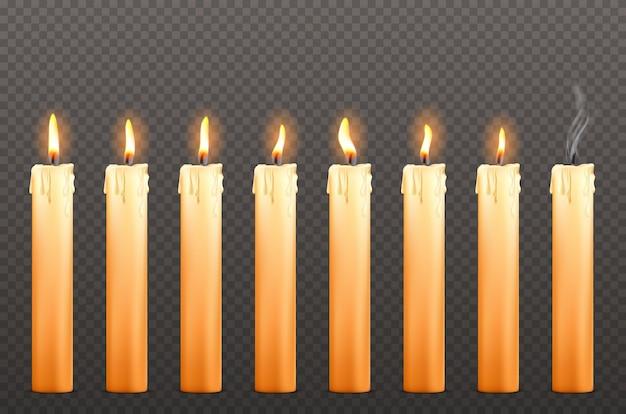 Świece O Różnych Płomieniach Ognia I Woskowych Kroplach Darmowych Wektorów