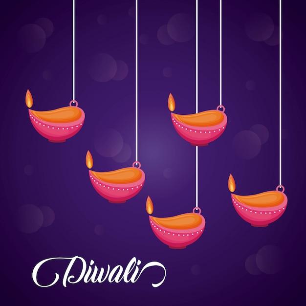 Świece Wiszące Diwali święto Ikony Darmowych Wektorów
