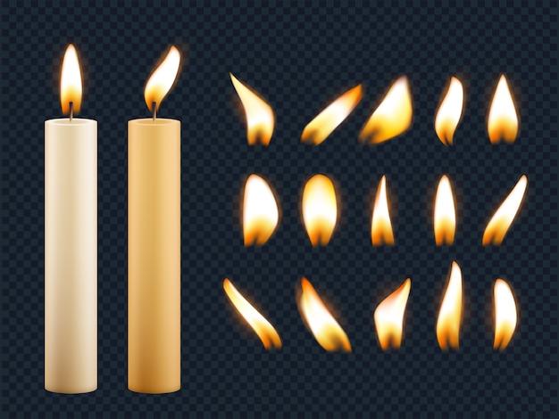 Świece Woskowe. Romantyczne światła Z Płomienia świecy O Różnych Kształtach Z Realistycznej Kolekcji Bezpieczników Premium Wektorów