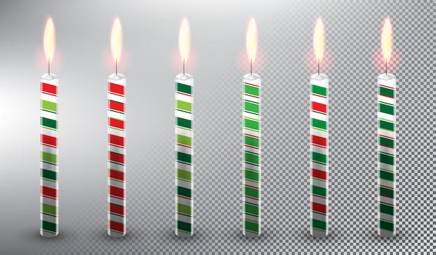 Świece Woskowe świece Tort Urodzinowy Dekoracje świąteczne Pojedynczo Na Białym Tle Premium Wektorów