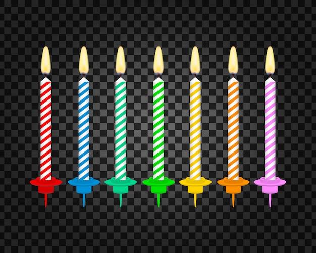 Świece Z Płonącymi Płomieniami Parafiny Woskowej. świeczki Na Urodzinowym Torcie. Premium Wektorów