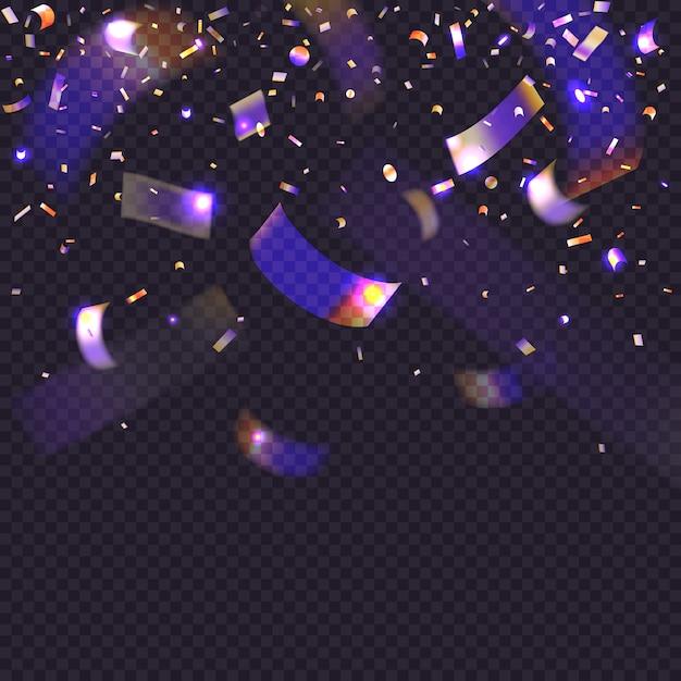 Świecić Neonowe Konfetti Na Przezroczystym Tle. 3d Falling Blichtr Blichtr. Tęczowe Opalizujące Cząsteczki. Premium Wektorów