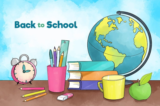Świecie Papeterii świata Powrót Do Tła Szkoły Darmowych Wektorów