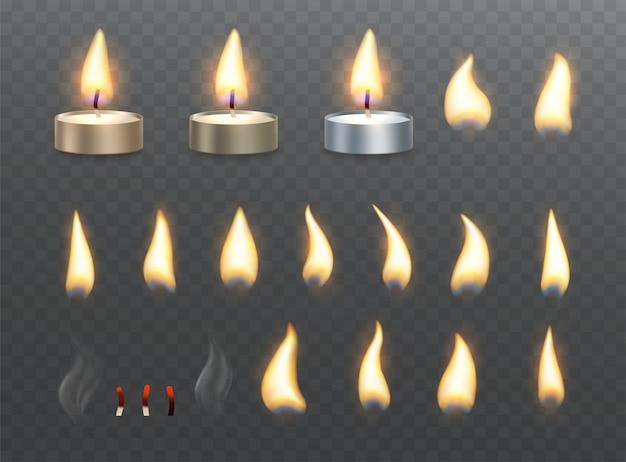 Świeczki Do Podgrzewania I Efekty Płomienia Ognia. Zestaw Płonących Efektów świetlnych Na Przezroczystym Premium Wektorów
