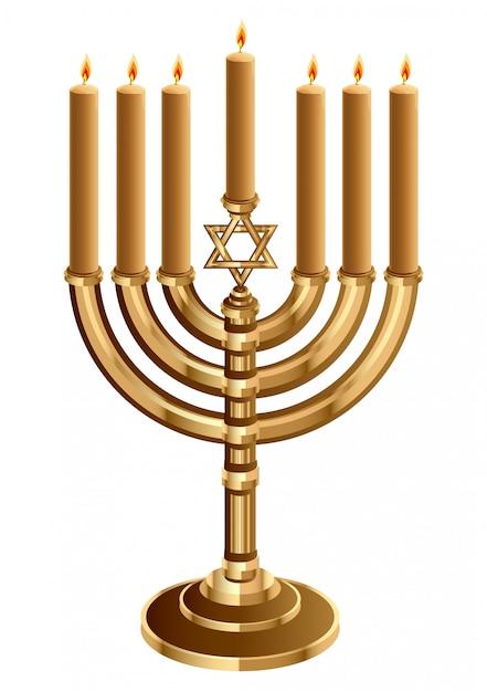 Świecznik Chanuka Z 7 świecami, świecznik Na 7 świec, Mniejszy Premium Wektorów