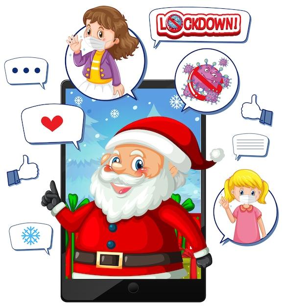 Święta Bożego Narodzenia Online Za Pośrednictwem Urządzenia Mobilnego Darmowych Wektorów